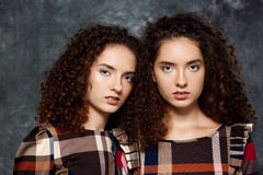 Beautiful sisters twins posing looking at camera over grey background. Royalty Free Stock Photo