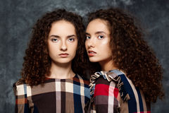 Beautiful sisters twins posing looking at camera over grey background. Royalty Free Stock Photos