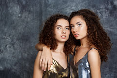 Beautiful sisters twins posing looking at camera over grey background. Stock Photography