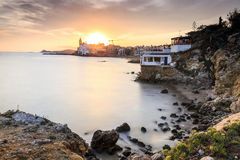 Beautiful Sitges at sunset, Catalonia, Spain Stock Photo