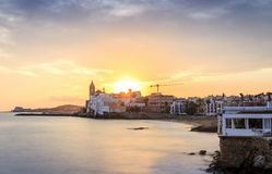 Beautiful Sitges at sunset, Catalonia, Spain Royalty Free Stock Photos