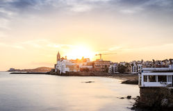 Beautiful Sitges at sunset, Catalonia, Spain Royalty Free Stock Images