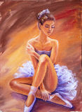 Beautiful sitting ballerina. Royalty Free Stock Images