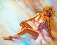 Beautiful sitting ballerina Royalty Free Stock Images