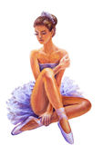 Beautiful sitting ballerina. Oil painting. Stock Images