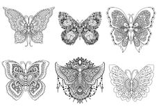 Beautiful six abstract butterflies line art designs Royalty Free Stock Photography
