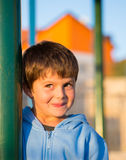 Beautiful six year old boy laughs Royalty Free Stock Images