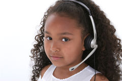 Beautiful Six Year Old Girl Close Up Over White Royalty Free Stock Photos