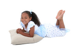 Beautiful Six Year Old Girl In Pajamas Over White Royalty Free Stock Photos