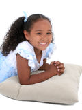 Beautiful Six Year Old Girl In Pajamas Over White Royalty Free Stock Image