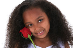 Beautiful Six Year Old Girl With Red Rose Over White Stock Images
