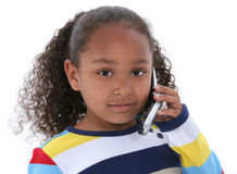 Beautiful Six Year Old Girl Speaking On Cellphone Over White Royalty Free Stock Photo