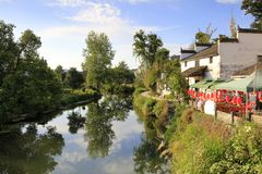 Beautiful sixi water village in wuyuan county, adobe rgb stock images