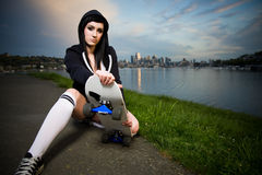 Beautiful skater teen girl Stock Images