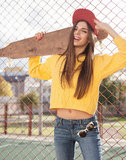 A beautiful skater woman Stock Images