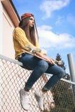 A beautiful skater woman Stock Photos