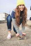 A beautiful skater woman Stock Photo