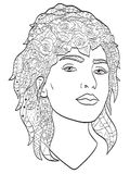 Beautiful sketch girl with long hair coloring vector for adults Stock Photo