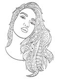 Beautiful sketch girl with long hair coloring vector for adults Royalty Free Stock Photos