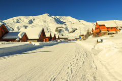 Beautiful ski resort in Alps,La Toussuire,France. Snowy road and village,La Toussuire,France,Europe Stock Image