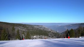 Beautiful ski slope on mountain resort in Alsace. stock video footage