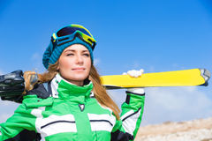 Beautiful skier woman Stock Photos