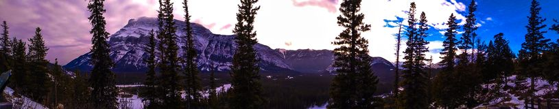 Beautiful skies over Canadian Rocky Mountains stock photo