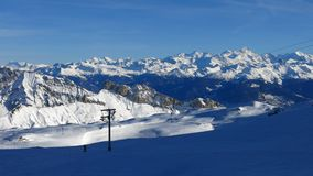 Beautiful skiing day on the glacier de Diablerets Stock Image