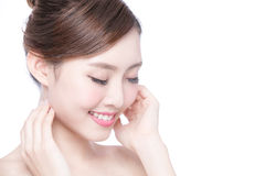 Beautiful Skin care woman Face. Beautiful Skin care woman relax and touch her skin face isolated on white background. asian Beauty Royalty Free Stock Photography
