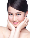 Beautiful Skin care woman Face. Smile to you isolated on white background. asian Beauty Royalty Free Stock Photo