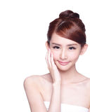 Beautiful Skin care woman Face. Smile to you isolated on white background. asian Beauty Stock Photography