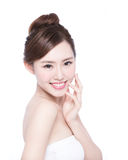 Beautiful Skin care woman Face. Smile to you isolated on white background. asian Beauty royalty free stock photography