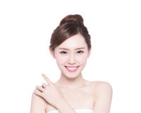 Beautiful Skin care woman Face. Smile to you isolated on white background. asian Beauty Royalty Free Stock Images