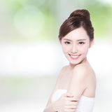Beautiful Skin care woman Face. Smile to you with nature green background. asian Beauty Royalty Free Stock Image