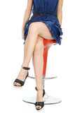 Beautiful skin women sitting on the bar chair with crossed legs Stock Photo