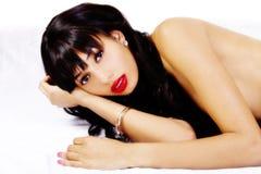 Beautiful Skinny African American Woman Topless Reclingin Royalty Free Stock Photo