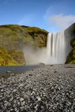 Beautiful Skogafoss. Amazing landscape at sunset in the most popular waterfall in Iceland. stock photography