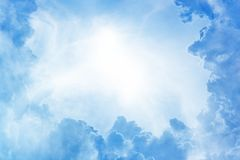 Beautiful sky. Perfect peaceful view - blue sky, white clouds, bright sun Royalty Free Stock Photography