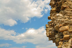 The beautiful sky. And part of the destroyed wall Royalty Free Stock Photo