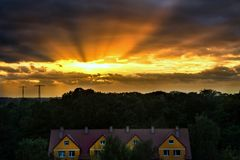 Beautiful sky above the city of ElblÄ…g, Poland.  stock images
