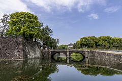 Beautiful sky above the double-arch bridge, Tokyo, Japan. Beautiful sky above the double-arch bridge, Imperial Palace, Tokyo, Japan Royalty Free Stock Photos