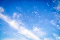 Beautiful sky background. Blue sky with cirro cumulus white clouds. Sky background. Blue sky with delicate cirro cumulus white clouds stock photos