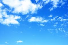 Beautiful sky background. Vivid blue and white clouds. Royalty Free Stock Photo