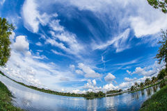 Beautiful sky. On the Beach - fish eye effect Stock Photo