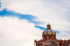 Beautiful sky and church in Taxco, Guerrero at Mexico. Royalty Free Stock Photo