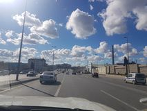 Beautiful sky with clouds in Baku, view from the car. Azerbaijan royalty free stock photo