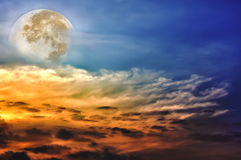 Beautiful sky with clouds, bright full moon would make a great b Stock Image