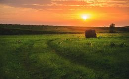 Beautiful summer scene with setting sun and straw bales in the field. stock photography
