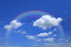 Beautiful sky with clouds and rainbow Royalty Free Stock Image