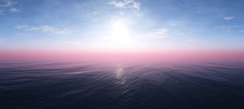 Beautiful sky with clouds and the sun above the sea stock image